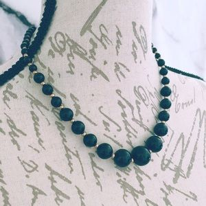 Black Graduated Bead Vintage Necklace